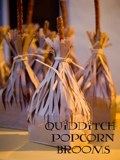 Harry Potter party- quidditch popcorn brooms