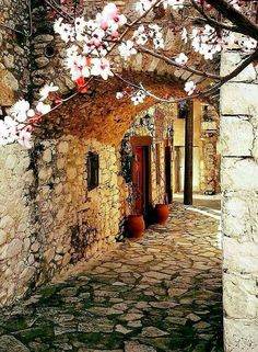 Alley in Armolia, a medieval village in Chios island, North Aegean Sea, Greece