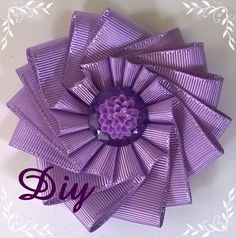 Flor de fita de gorgurão DIY Ribbon flower