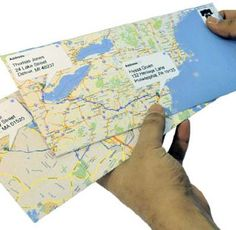 Google Map Envelopes. Use the directions feature to put a blue line between the TO and the FROM.