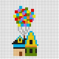 Up House Perler Bead Pattern . - Up House Perler Bead Pattern - Perler Bead Designs, Perler Bead Templates, Diy Perler Beads, Perler Bead Art, Kandi Patterns, Pearler Bead Patterns, Perler Patterns, Beading Patterns, Embroidery Patterns