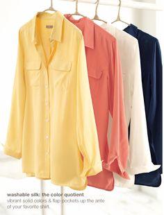 Washable silk flap-pocket shirt   www.jjill.com