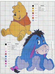 Winnie the Pooh and Eeyore cross stitch pattern