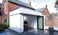 pitched roof extension with clean white render Brick Extension, Single Storey Extension, House Extension Design, House Design, Extension Google, Extension Ideas, Bungalow Extensions, House Extensions, Semi Detached