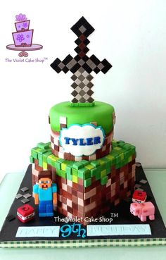 2 Tier MINECRAFT with Sword Topper for Tyler - by The Violet Cake Shop on CakesDecor - https://www.facebook.com/pages/The-Violet-Cake-Shop/95259702360 - http://cakesdecor.com/cakes/136072-2-tier-minecraft-with-sword-topper-for-tyler