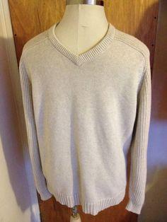 STRUCTURE Men's 100% Cotton Sweater Pullover V-Neck Long Sleeve Large L Beige #Structure #VNeck #MensSweater
