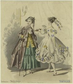 1860s fancy dress plate. A very vague 18th-century costume, and a representation of - not sure. The ball of twine suggests Clotho (one of the three Fates) or Ariadne (who helped Theseus out of the Labyrinth). Ariadne was associated with the moon and later married Dionysus, who was associated with the sun. Suggestions welcome.
