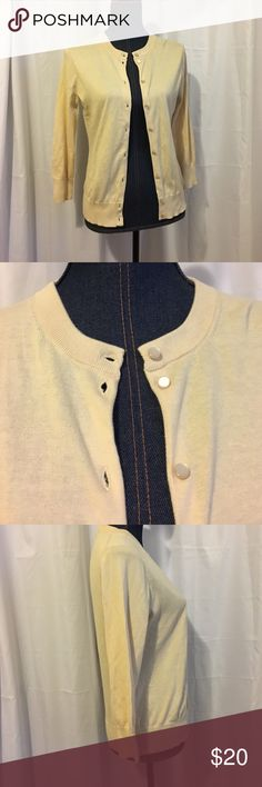 """J.Crew Clare Cardigan Great Preloved condition sweater with cute buttons. 3/4"""" sleeves- on small side. Not a true medium. Measures- 19"""" pit/pit & 23"""" long with a 30"""" waist if you Button it fully. Nonsmoking home J. Crew Sweaters Cardigans"""