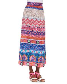 Hazel Printed Silk Long Skirt, Women's, Size: XS/0-2, Pink - Tolani