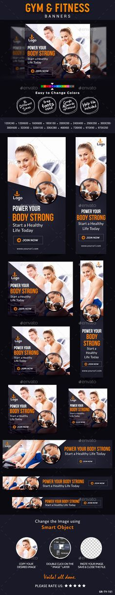 Gym & Fitness Banners - Banners & Ads Web Elements