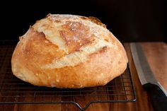 Crusty Rustic Bread - mix up the night before, bake in a cast iron pot, and you have a delicious, restaurant-like rustic bread! Voila!