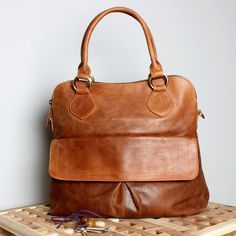 Leather Handbag Tote Bag Vintage Tan Brown by TheLeatherStore