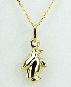 9ct Yellow Gold Penguin Pendant on 9ct Gold  Belcher Chain, Stamped 375 #wwwOphirJewellerycouk #Pendant