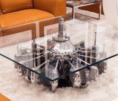 Coffee tables made from Starphire ultraclear glass and aircraft engines in The Bruce Makowsky Billionaire Estate and Its Art - 70 photos!