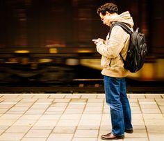 #communication #commuter #guy #male #man #person #platform #public transport #smartphone #texting #train station #traveler #typing #waiting