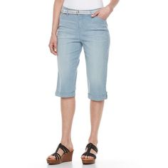 Petite Gloria Vanderbilt Lillian Skimmer Pants, Med Blue