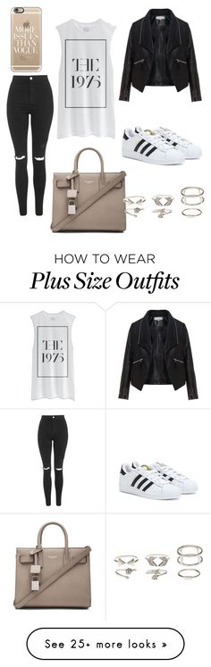"""""""Untitled #39"""" by kimsiebke on Polyvore featuring Topshop, Yves Saint Laurent, Zizzi, Charlotte Russe, Casetify and adidas"""