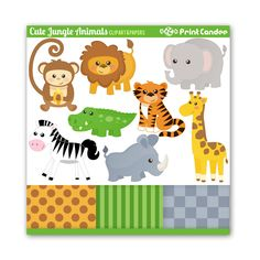 Cute Jungle Animals Digital Clip Art Personal and by printcandee