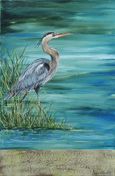 Great Blue Heron 2 Painting by Jean Plout - Great Blue Heron 2 Fine Art Prints and Posters for Sale: