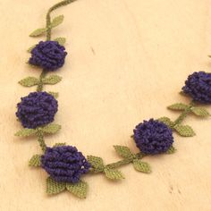 Turkish OYA Lace - Silk Necklace - Rose - Indigo by DaisyCappadocia on Etsy