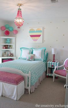 and Fun Ways to Organize Bookshelves for Kids Bright and bold girl's bedroom. A lot of fun DIY projects. The Creativity ExchangeBright and bold girl's bedroom. A lot of fun DIY projects. The Creativity Exchange Teenage Girl Bedrooms, Little Girl Rooms, Tween Girl Bedroom Ideas, Bedroom Girls, Girls Bedroom Chandelier, Girls Bedroom Turquoise, Preteen Girls Rooms, Turquoise Room, Childrens Bedroom