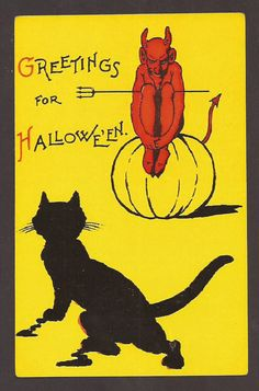 Greetings for Halloween Devil and Black Cat Postcard Carte Postale Postkarte #Halloween