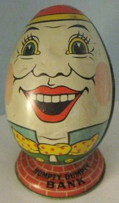 Wonderful Antique Tin Toy Humpty Dumpty Coin Bank Chein 1920s-30s Rare!