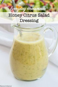Everyday Honey Citrus Salad Dressing is bright and lemony with a kick from dried chili flakes. This homemade dressing may become your new go-to vinaigrette! Dressing Everyday Honey-Citrus Salad Dressing - Flavour and Savour Citrus Vinaigrette, Vinaigrette Dressing, Salad Dressing Recipes, Sweet Salad Dressings, Homemade Salad Dressings, Salad Recipes, Avocado Recipes, Lemon Recipes, Fruit Recipes
