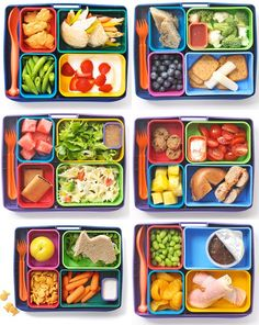 healthy bento boxes. Not sure where this pin came from; the pin we got it from was misdirected to some weird site. But hey! Great ideas, right in the pic!