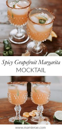 The Spicy Grapefruit Margarita Mocktail is a spicy twist on this class soft cocktail. This alcohol-free drink recipe is great for those who don& love sweet drinks. Mix up a batch for your next gameday party. Beer Recipes, Alcohol Recipes, Spicy Recipes, Homebrew Recipes, Margarita Ingredients, Margarita Recipes, Spicy Drinks, Yummy Drinks, Easy Mocktail Recipes