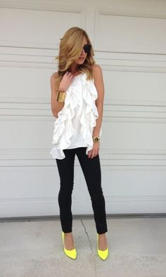 Sleeveless top, denim and neon shoes!
