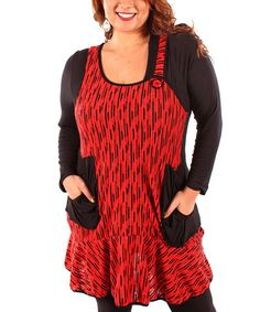 Take a look at this Red & Black Drop-Waist Sleeveless Tunic - Plus by Aster on #zulily today! $30 !!