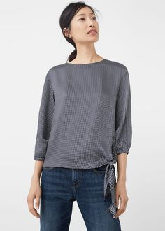 Bow printed blouse - Shirts for Woman | MANGO United Kingdom
