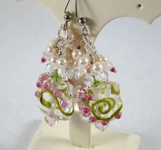 Pink and Green Pearl and Lampwork Dangle Earrings by ramonahall, $55.00