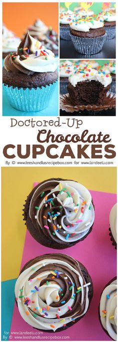 Doctored-Up Chocolate Cupcakes from a Cake Mix Quick and Easy Desserts Recipe Chocolate Cake Mixes, Chocolate Cupcakes, Chocolate Recipes, Chocolate Chip Cookies, Frosting Recipes, Cupcake Recipes, Dessert Recipes, Dessert Ideas, Cake Mix Cupcakes
