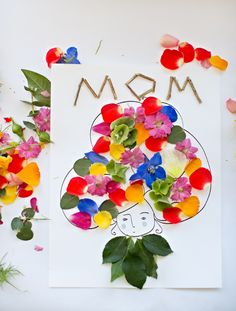 Make beautiful Mother's Day flower art with the kids. Free printable included.