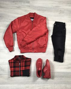 total red outfit // Retrouvez ce look sur http://realnswag.fr #red #outfit #black #menswear #street #style #spring