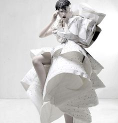 Sculptural Fashion - dramatic white dress with voluminous, sculpted layers and mixed textures - 3D fashion; artistic fashion