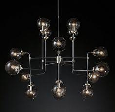 Bistro Globe Clear Glass Chandelier 16-Light