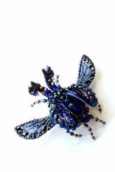 Dark Blue Beetle with Lapis Lazuli  bead by BeadedNatureJewelry