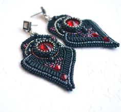 BLACK EMBROIDERED EARRINGS-   beadwork jewelry- long earrings- gothic earrings- embroidered jewelry- black and red by suzidesign. Explore more products on http://suzidesign.etsy.com
