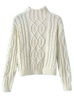 White High Neck Cable Knit Sweater | Choies