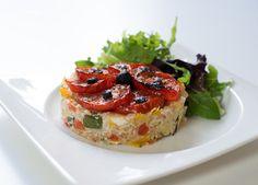mediterranean rice and vegetable bake Vegetable Bake, Baked Vegetables, Diet Inspiration, Salmon Burgers, Quiche, Baking, Breakfast, Ethnic Recipes, Easy