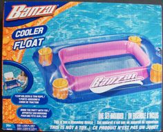 Banzai Cooler Float For Your Outdoor Backyard Pool Party Age 14+  #56637    Bring The Party With You!  Sturdy enough to hold your 28-quart cooler (Cooler not included, that item is sold separately)   4 Cup Holders, Tow Rope, Attachment Clip, Repair Patch included   Outside Size is 33 inches Long x 25 inches Wide x 6 inches High   Inside Size for your Cooler is 20 inches Long x 12 inches Wide