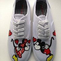 Size 7 IN STOCK - Hand Painted Mickey Mouse, Minnie Mouse & Disney Inspired Shoes Womens Canvas Custom Keds Vans, in Stock for CHRISTMAS