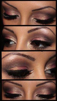 Subtle Shimmery Bronze Smokey Eye with Highlight ♥