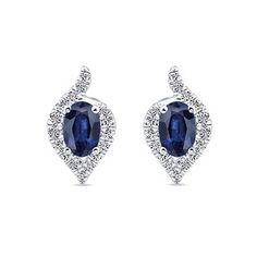 Sapphires and Diamonds, a Classic Combination in an Elegant 14K White Gold setting. Gabriel Earrings at Ben Garelick Jewelers #GabrielCoRetailer http://ss1.us/a/YlcFzXnW
