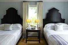 Steven Gambrel ~ Gambrel created the pattern for these headboards from the silhouette of a Dutch building he saw in his travels.