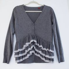 Ruffle Cardigan Grey ruffle cardigan. Super comfortable. Excellent condition.  Offers welcome.  No trades.  Bundle for discount. Sweaters Cardigans
