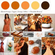 Burnt Orange, Copper, Orange, Yellow & Chocolate Brown.  Switch Brown for Eggplant {Imagine the Possibilities}: Color Your Wedding Beautiful!